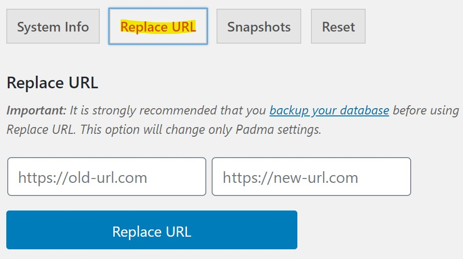 Padma Theme > Tools > Replace URL
