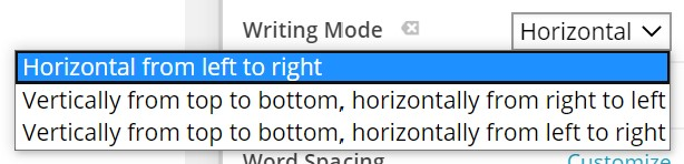 Edit This Instance > Fonts > Writing Mode  - Visual Editor
